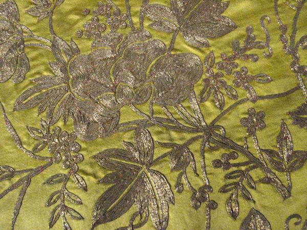 victorian piano lady's shawl scarf close-up gold