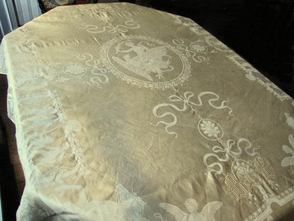vintage antique figural damask tablecloth