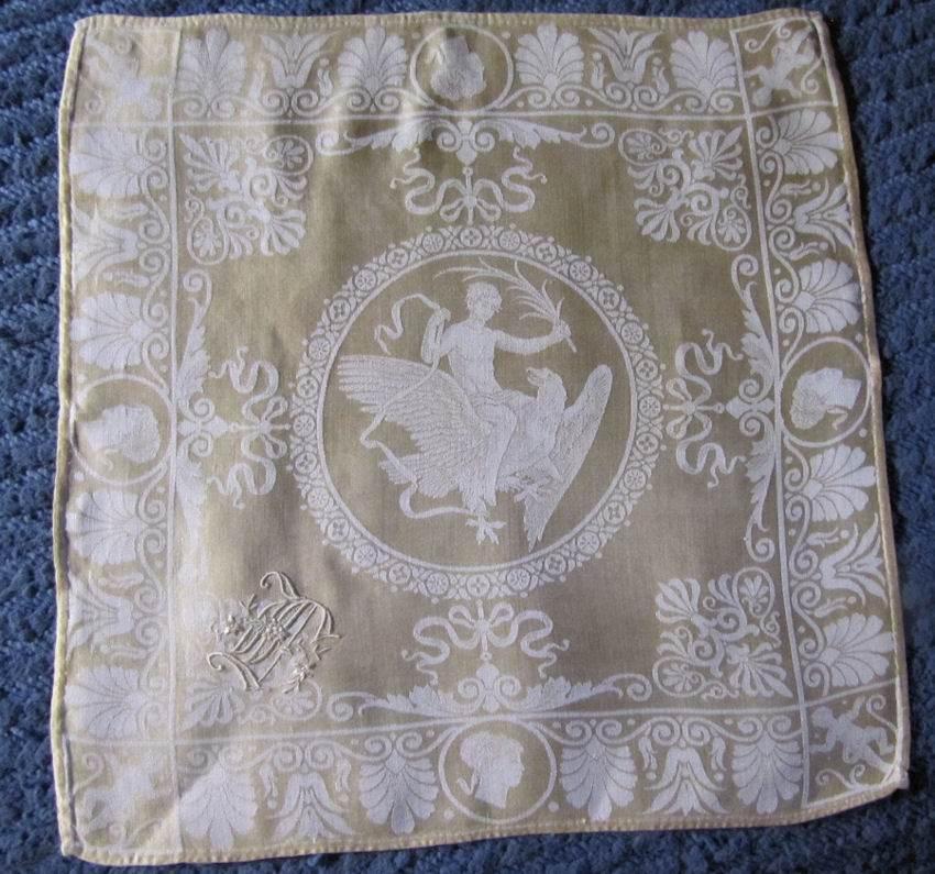 vintage antique napkins figural damask