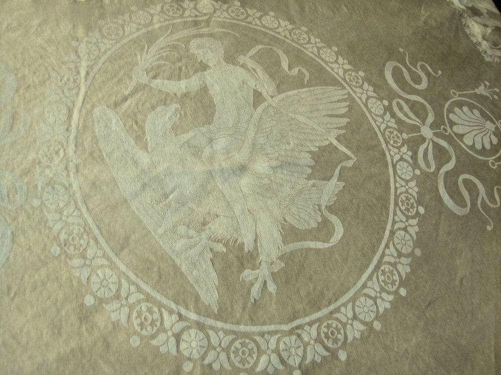 close up 2 vintage antique figural damask tablecloth