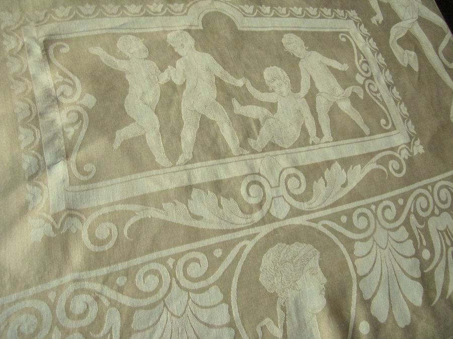 close up 3 vintage antique figural damask tablecloth