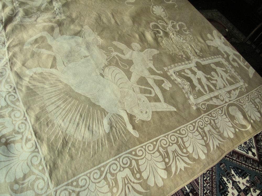 close up 4 vintage antique figural damask tablecloth