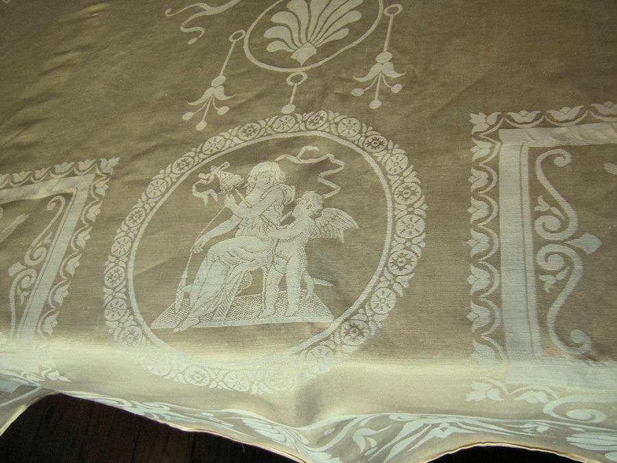close up 5vintage antique figural damask tablecloth