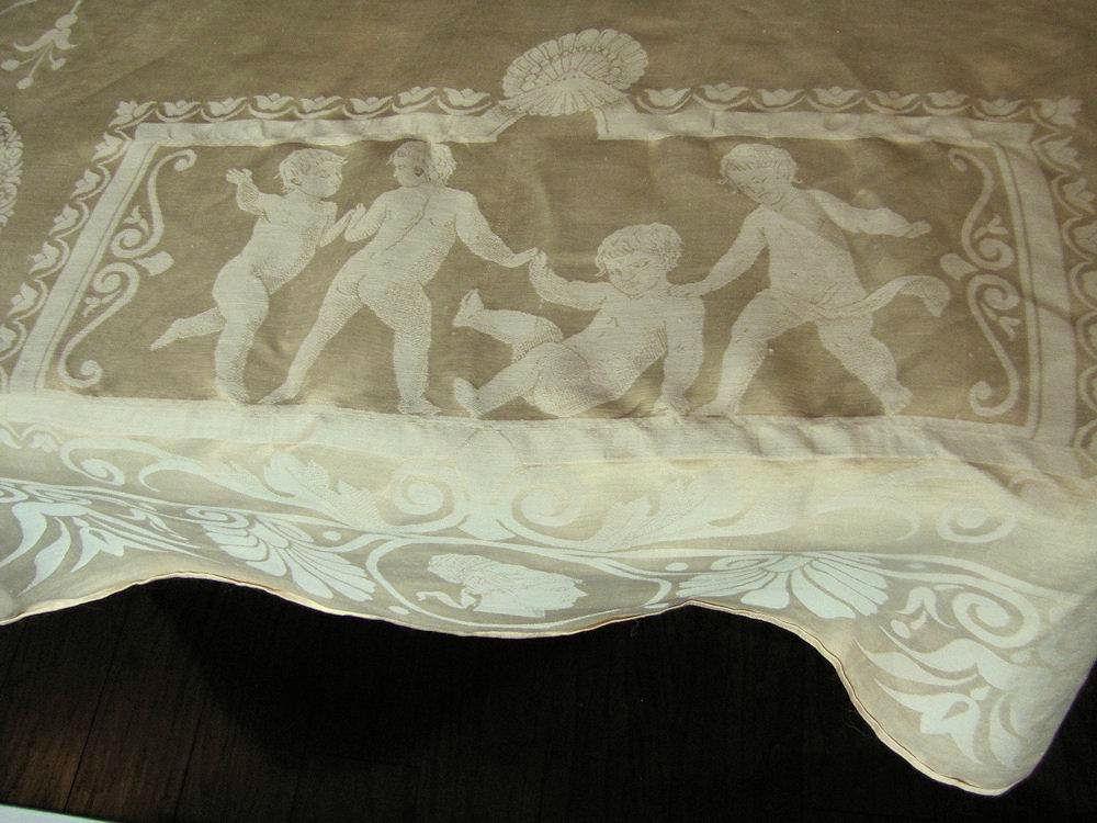 close up 6 vintage antique figural damask tablecloth