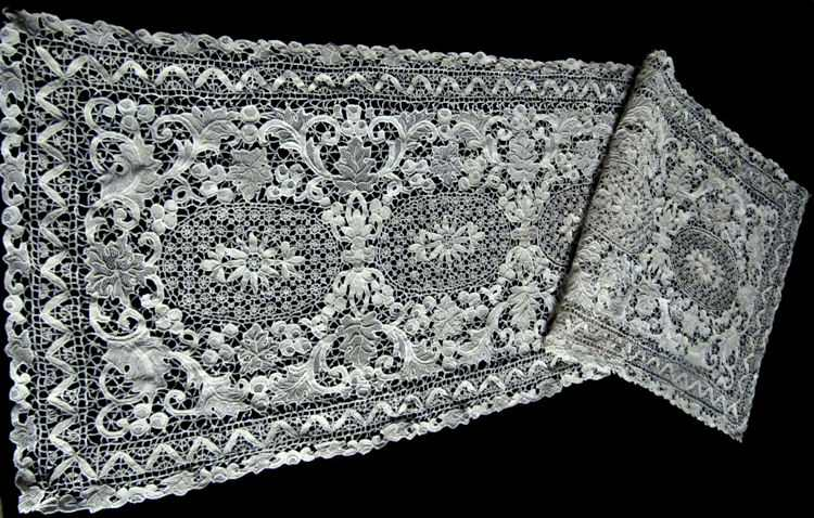 placemats and table runner set handmade needle lace close up of runner