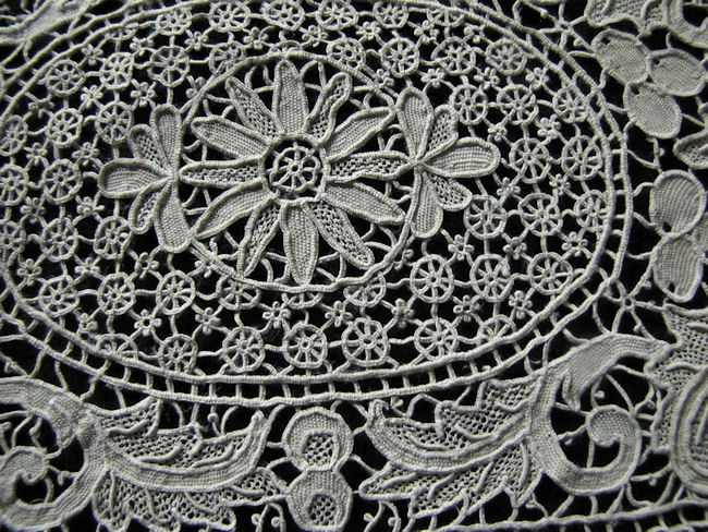 placemats and table runner set handmade needle lace close up of center