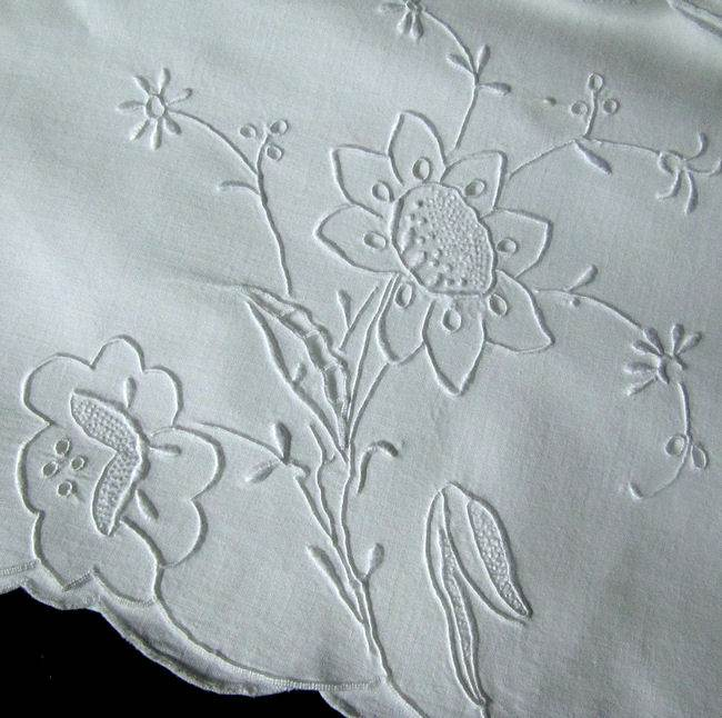 close up 2 pair vintage handmade whitework pillowcases lace and embroidery