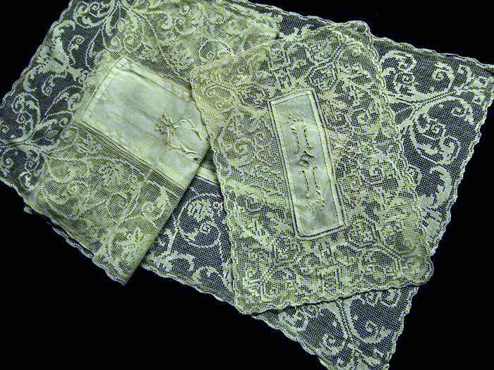 vintage placemats and matching table runner handmade lace and embroidery