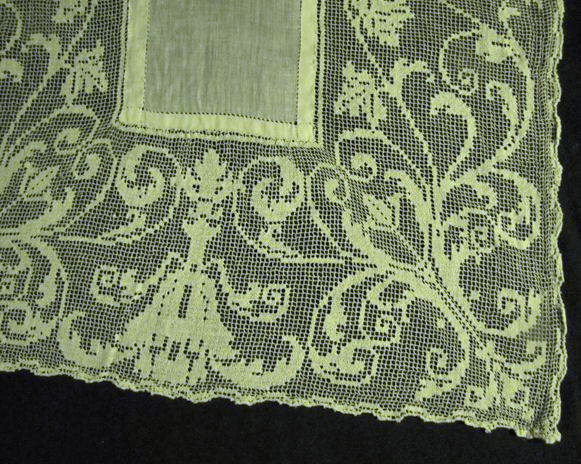 close up 3 vintage placemats and matching table runner handmade lace and embroidery