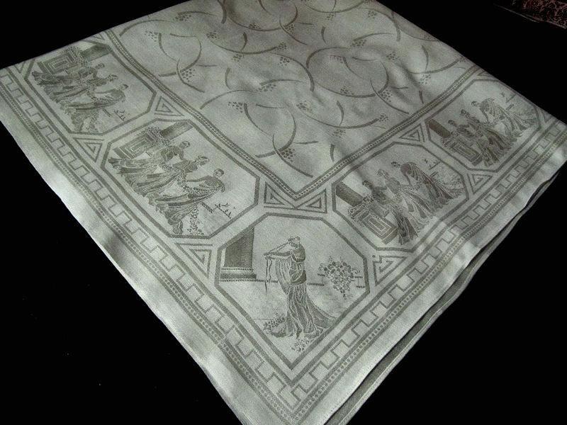 vintage figural damask tablecloth