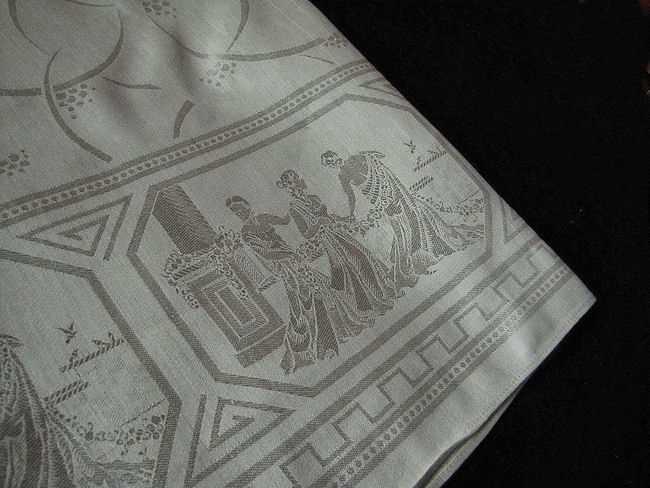 close up 2 vintage figural damask tablecloth