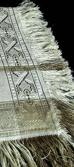 vintage beige linen damask table topper with fringe