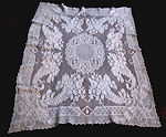 vintage handmade figural filet lace tablecloth