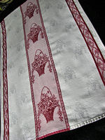 vintage damask towel red