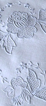 vintage antique white linen table topper handmade lace blue embroidery