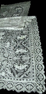 vintage antique figural lace table runner dresser scarf