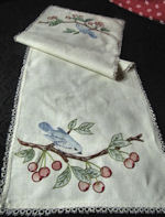 vintage arts and crafts table runner dresser scarf bluebirds