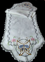 vintage antique table runner dresser scarf hand embroidered butterfly