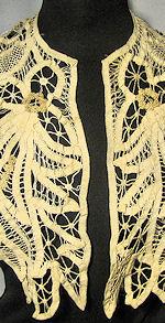 vintage antique cape handmade battenberg and needle lace