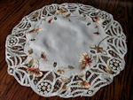 vintage antique table topper with society silk and battenberg lace