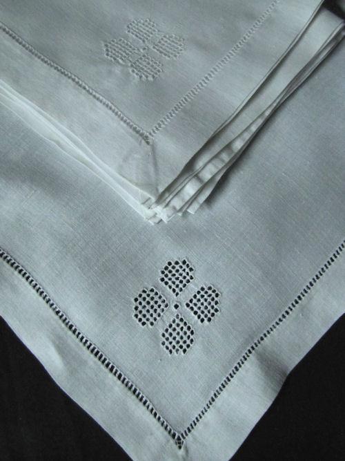 close-up hemstitch on vintage napkins