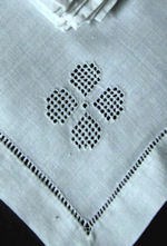 vintage white linen napkins handmade lace