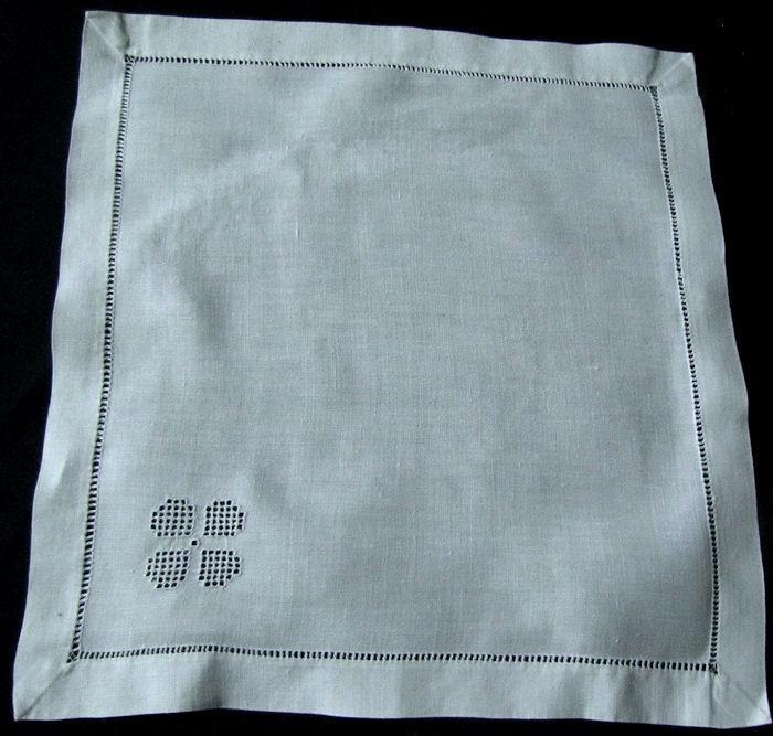 single white linen vintage napkin