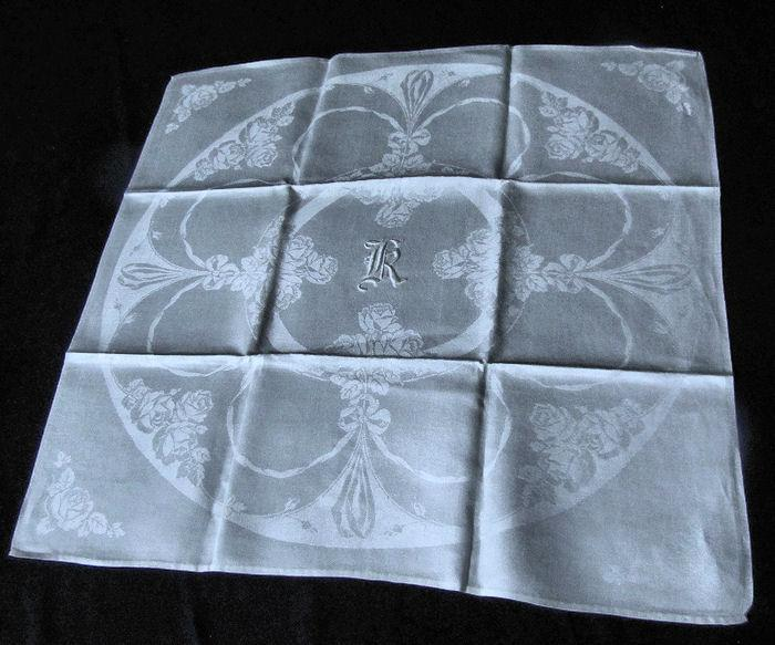 vintage white linen dinner napkins monogrammed K