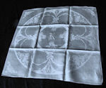 12 vintage white Irish linen dinner napkins monogrammed K