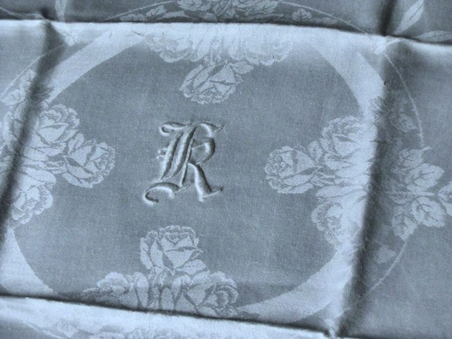 vintage white linen dinner napkins close-up monogram K