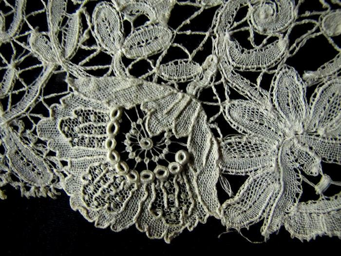 flower on antique belgian lace trim
