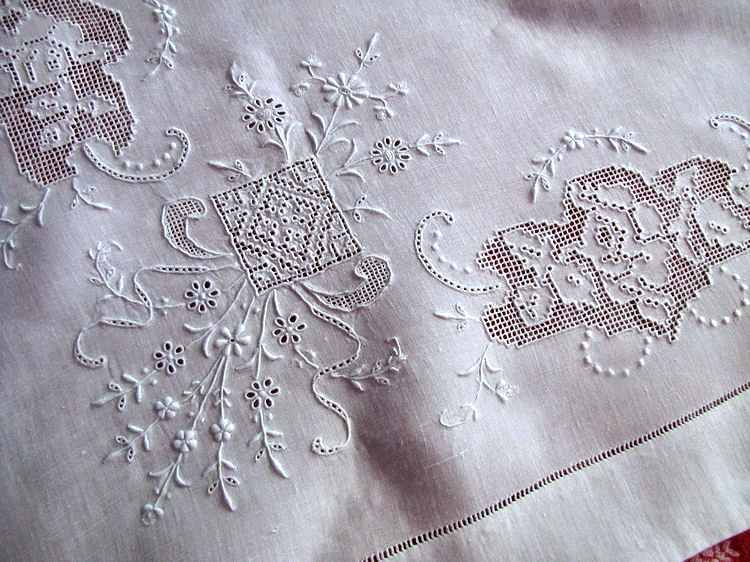 close up 2 vintage antique pair layover pillow shams with handmade lace and whitework embroidery