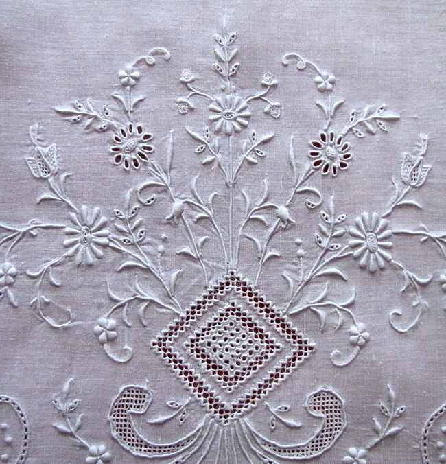close up 3 vintage antique pair layover pillow shams with handmade lace and whitework embroidery