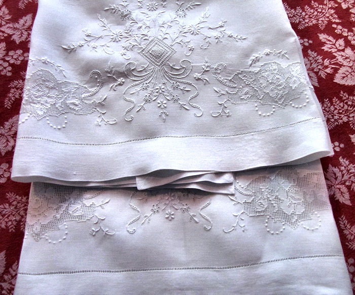 close up 5 vintage antique pair layover pillow shams with handmade lace and whitework embroidery