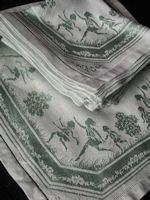 12 vintage figural damask napkins