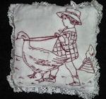vintage handmade redwork pillow
