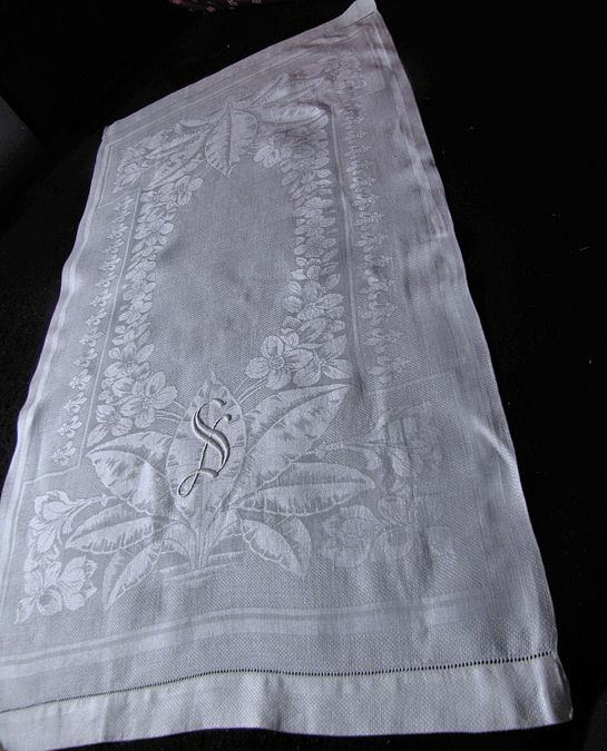 pair vintage white huck linen towels monogrammed S