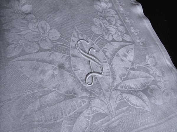 close up 2 pair vintage white huck linen towels monogrammed S
