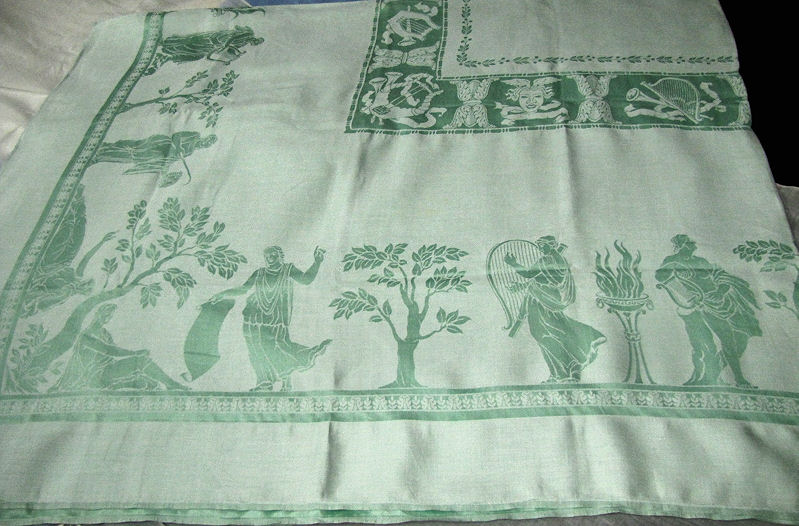 vintage figural damask tablecloth