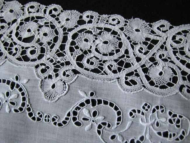 cantu lace on white linen antique placemats