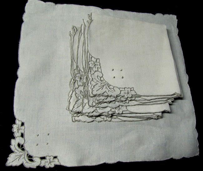 vintage linen dinner napkins handmade lace