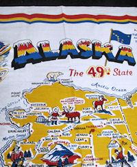 vintage tablecloth state map of Alaska