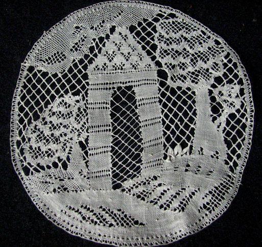 vintage figural lace doily