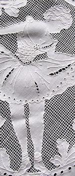 vintage antique table runner dresser scarf handmade figural appenzell lace