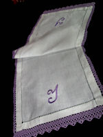 vintage table runner dresser scarf handmade tatted lace monogram Y violet, lavender