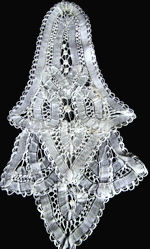 vintage antique handmade battengerg lace jabot