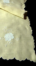 vintage antique yellow linen table runner dresser scarf handmade applique