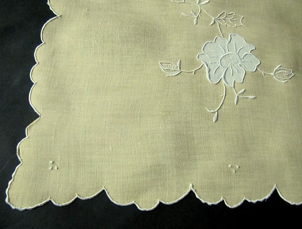 close up vintage antique yellow linen table runner dresser scarf handmade applique