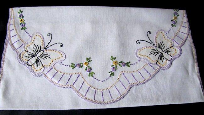vintage antique lingerie folder or bag hand embroidered butterflies