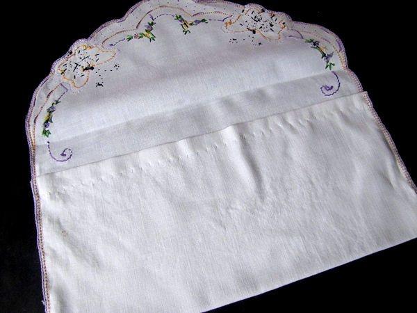 close up 2 vintage antique lingerie folder or bag hand embroidered butterflies